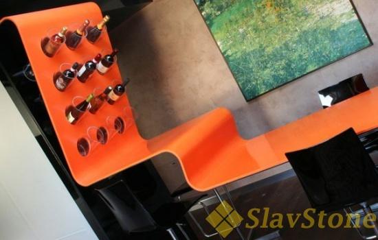 Барная стойка из искусственного камня Hi Macs S27 Orange